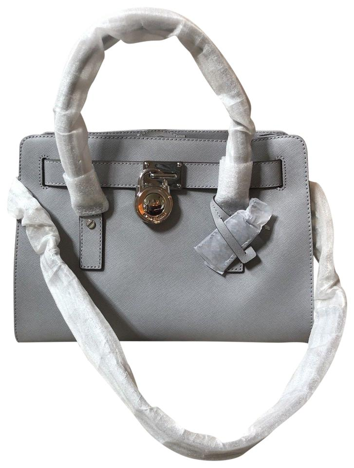 Michael Kors Hamilton Saffiano Medium Lock and Key New with Tags Dove  Gray Silver Tone Hardware Leather Satchel 5a0f1c8caa50c