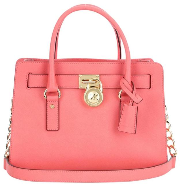 Michael Kors East West Hamilton (New with Tags) Grapefruit Pink Saffiano Leather Satchel Michael Kors East West Hamilton (New with Tags) Grapefruit Pink Saffiano Leather Satchel Image 1