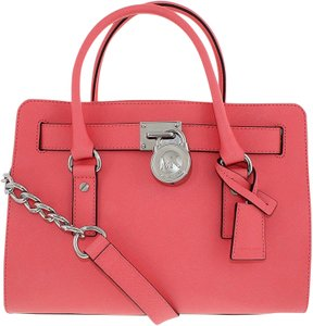 30b16fa4f344 ... spain michael kors mk hamilton leather hamilton medium mk saffiano  leather mk satchel in coral pink