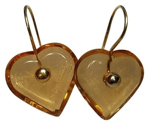 Baccarat Baccarat 18K Gold Yellow Crystal Heart Earrings