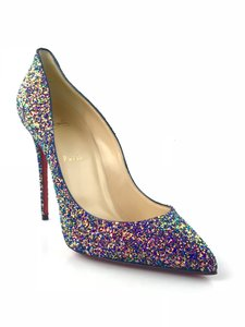 Christian Louboutin Pigalle Follies Glittered Dragonfly China Blue Pumps