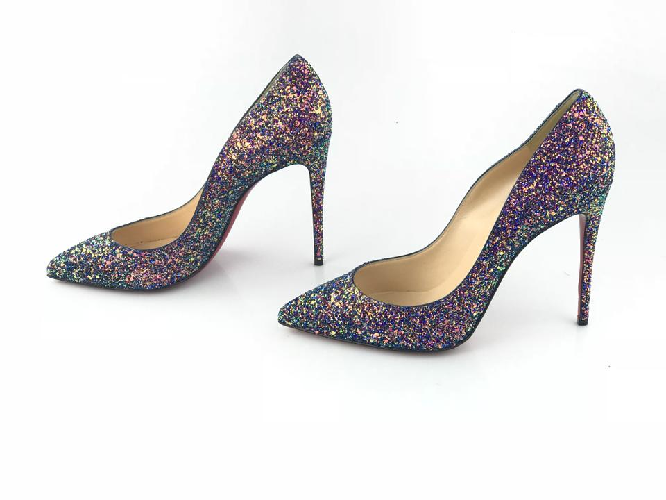 b5d15206b2c Christian Louboutin Pigalle Follies Glittered Dragonfly China Blue Pumps  Image 8. 123456789