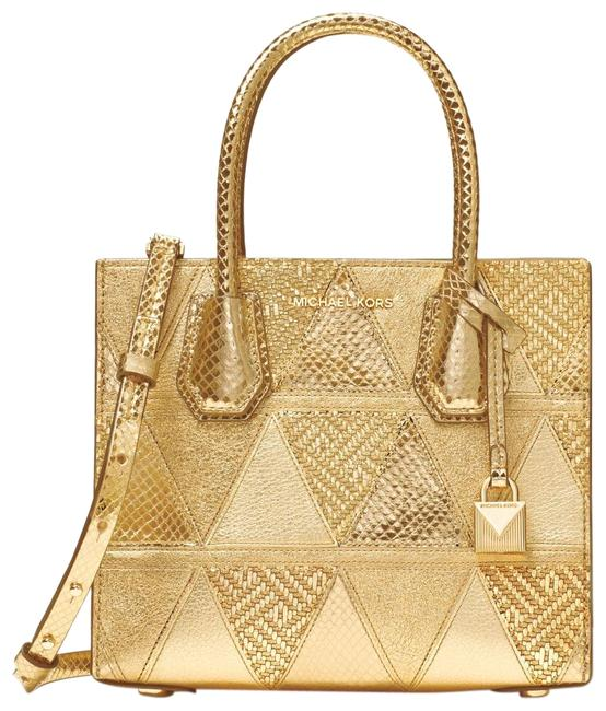 Item - New Withmercer Metallic Pyramid Patchwork Gold Leather Messenger Bag