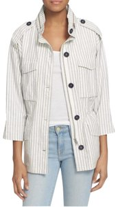 Joie Hooded Chic Spring Sporty Blue and White Striped Jacket