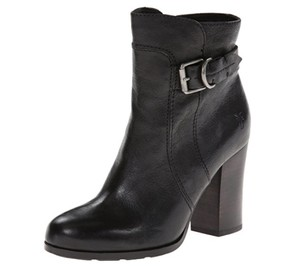 Frye Fry Parker Chunky Heal Black Leather Boots