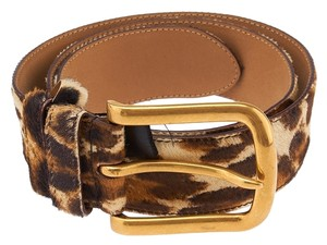 Prada Prada Brown Leopard Print Pony Hair Belt, Size 28/70 (37033)