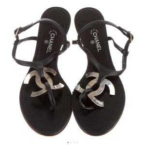 Chanel Black Leather with Silver Classic CC Metal Logo Sandals