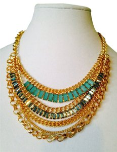 Greenbeads NWOT Multi-Strand Gold & Stone Necklace
