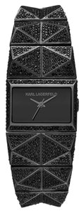 Karl Lagerfeld Karl Lagerfeld Perspektive Glitzy Black Ion Plated Stainless Steel Pyramid Watch KL2605