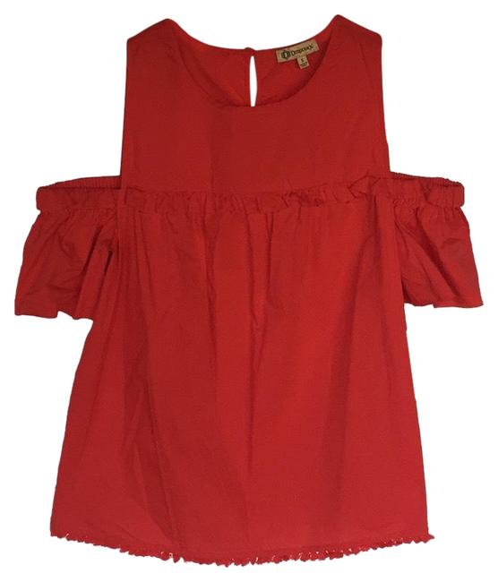 Item - Red Open Shoulder Ruffle and Pom Pom Bottom Too Blouse Size 6 (S)