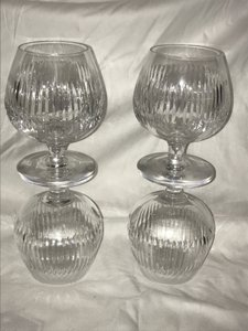 Gucci Crystal Clear Cognac Brandy Sniffer Set Of 4 Vintage Glasses Barware