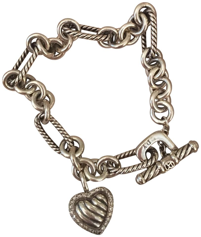 David Yurman Charm Bracelet: David Yurman Sterling Silver With Pave Diamonds Cable