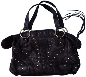 Le'Bulga Leather Studded Tassels Zippered Top Inside Pockets Tote in Chocolate brown