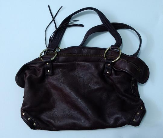 Le'Bulga Leather Studded Tassels Zippered Top Inside Pockets Tote in Chocolate brown Image 1