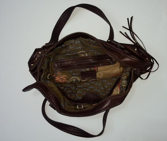 Le'Bulga Leather Studded Tassels Zippered Top Inside Pockets Tote in Chocolate brown Image 2
