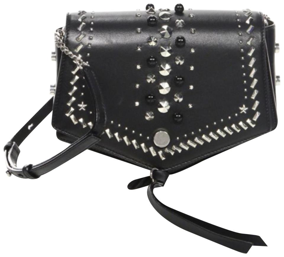 bbfaec01f761e Jimmy Choo Arrow Studded Crossbody Black Leather Messenger Bag - Tradesy