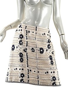 Chanel Vintage Vintage Ceramic Trim Skirt Black & White