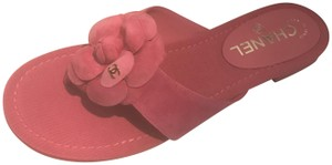 Chanel Flat Camellia Thong Pink Sandals