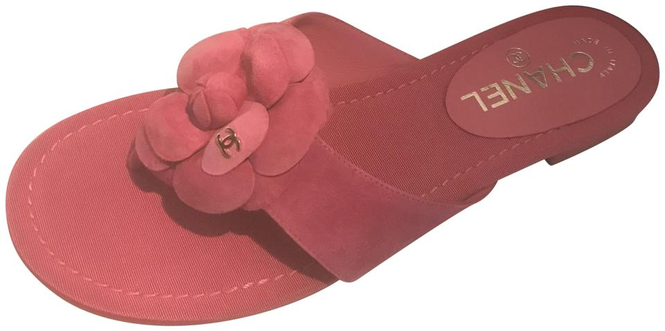 e812f2a2c469 Chanel Pink 16c Suede Camellia Flower Flat Thong Mules Sandals. Size  EU 37  (Approx. US 7) Regular (M ...