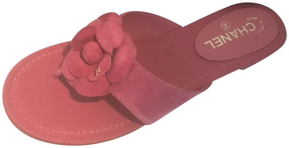 Chanel pink 16c suede camellia flower flat thong mules sandals size chanel flat camellia thong pink sandals mightylinksfo