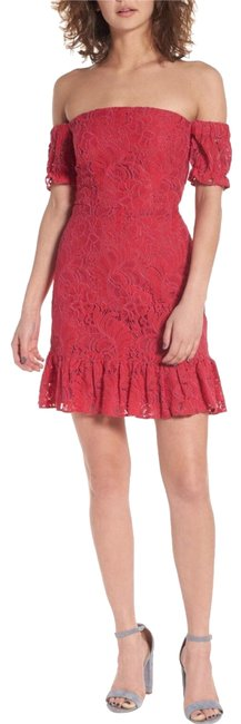 Item - Red Of Shoulder Lace Cocktail Dress Size 2 (XS)