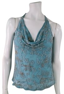 Ralph Lauren Beaded Floral Paisley Sparkle Draped Scoop Back Top Light Blue