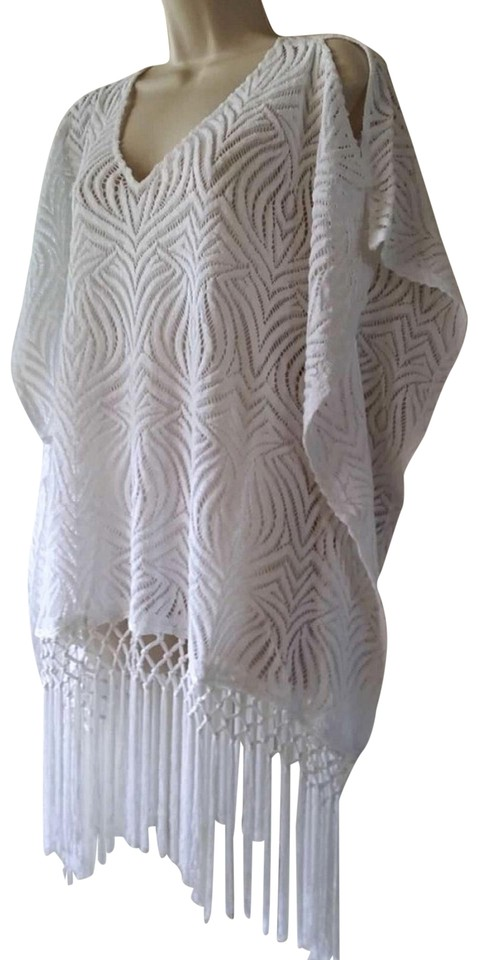 9cd964f0d75e6 Chico s White Cut Out Lace Fringe Poncho Top- S M Tunic Size 8 (M ...