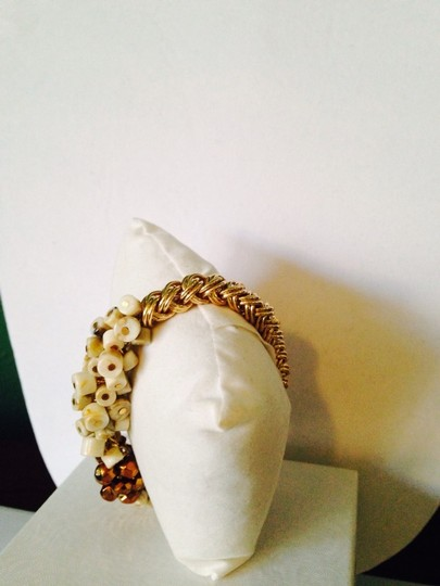 Other NWOT White Agate & Faceted Crystal Gold-Tone Stretch Bracelet