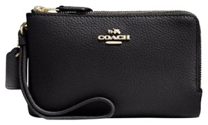 Coach Pebbled Leather Wristlet in Black