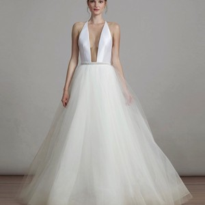 Liancarlo White Tulle and Satin 6893 Ballgown with Plunging Neckline Sexy Wedding Dress Size 6 (S)