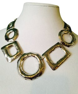 NWOT Silver -Tone Multi-Shape Large Statement Necklace