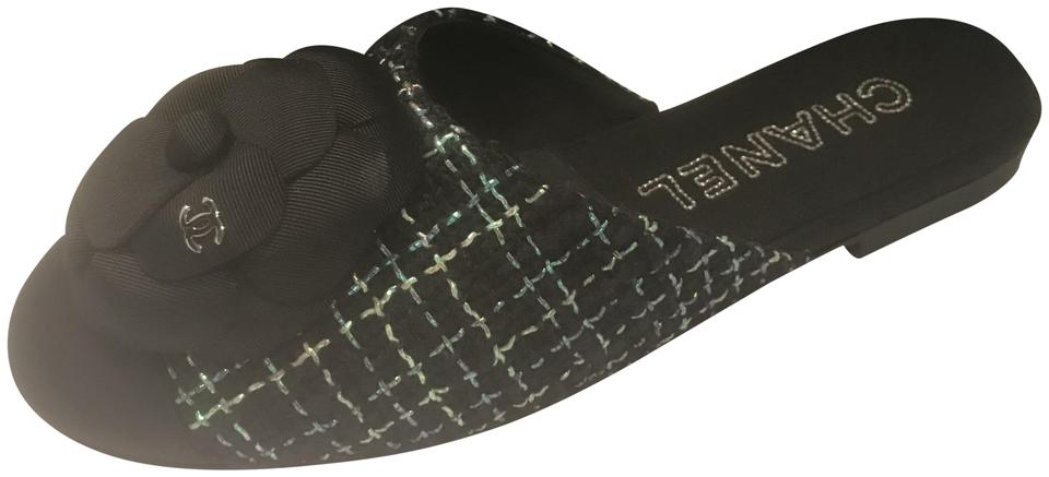 792f08cae7c0 Chanel Black Green 17s Tweed Grosgrain Camellia Flower Flat Sandals Mules  Slides. Size  EU 35 (Approx.