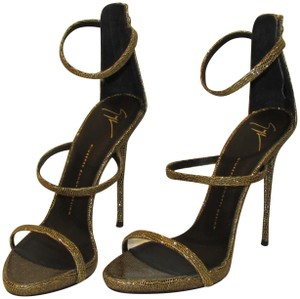 Giuseppe Zanotti Gold Black Metallic Lizard Sandals