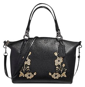 Coach Leather Crossbody Floral Satchel in Black