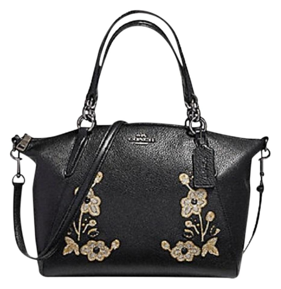53b9f5c0 Coach Kelsey Pebbled Floral Embroidered Small Black Leather Satchel