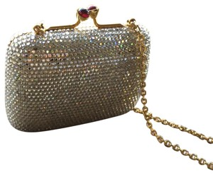 Judith Leiber silver crystal on gold metal frame Clutch