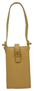Chanel CHANEL Beige Cell Phone Case Small/Accessory Pouch! MINT!