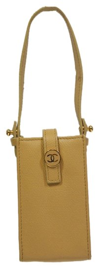 Chanel CHANEL Beige Cell Phone Case Small/Accessory Pouch!