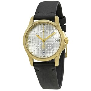 Gucci G-Timeless Silver Dial Ladies Leather Watch
