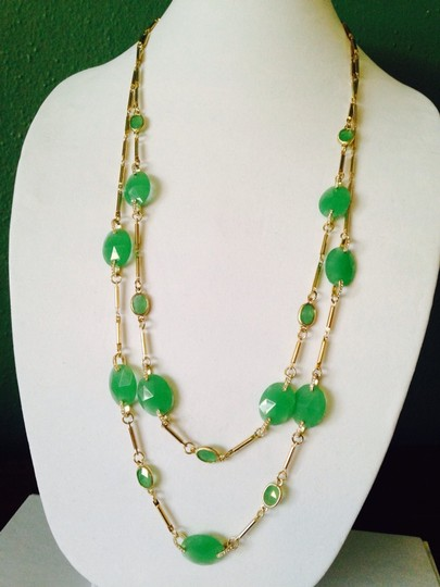 Neiman Marcus NWOT Faceted Aventurine Gemstone & Crystal Link Long Double Strand Necklace