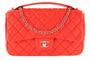 Chanel Handle With Chain Soft Little Wearing Very Smart Looking Roomy Satchel in Red