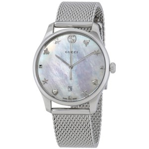 Gucci G-Timeless MOP Dial Ladies Mesh Watch