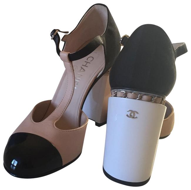 Item - Black/ Beige with White Heel Beige/ T-strap Chunky Formal Shoes Size EU 38 (Approx. US 8) Regular (M, B)