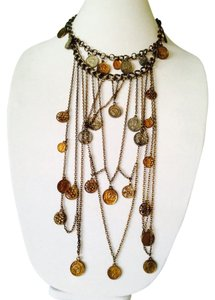 Takara NWOT Multi Strand Rustic Brass Coin Statement Necklace