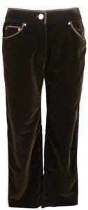 Valentino Velvet Silk Piping Jeans Gold Hardware Straight Pants Brown