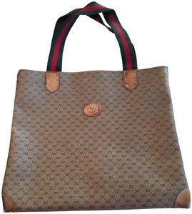 Gucci Smaller Style Red/Green Interior Pockets Tote in leather & G logo print coated canvas in shades of brown with red/green striped handles