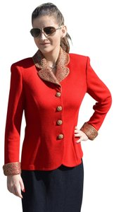 St. John Knits Beaded Jeweled Buttons Chinese Red Blazer