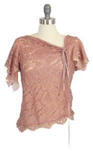 Other Asymmetrical Vintage Lace Pink Blush Fred Segal Top