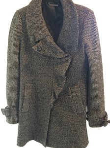 Diane von Furstenberg Ruffle Front Wool Blend Fashion Forward Pea Coat