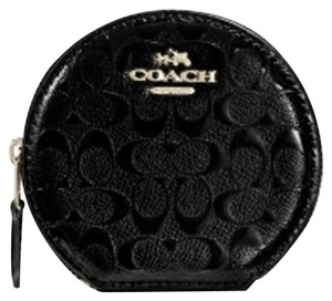 Coach Nwt Coach Black Patent Leather Signature Debossed Round Coin Wallet